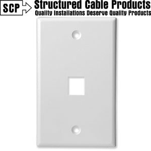 1Port White Keystone Wall Plate Wave Electronics